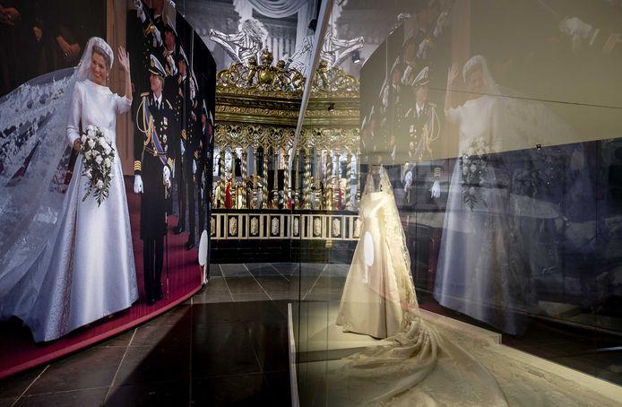 Máxima's trouwjurk in Maison Amsterdam in De Nieuwe Kerk.