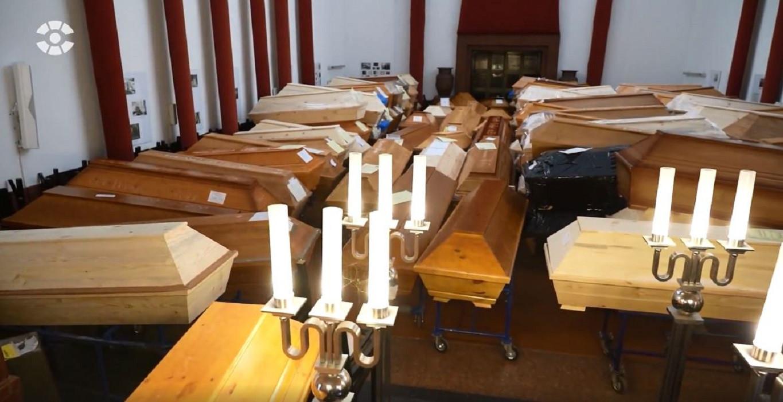 De tot koelcel omgebouwde uitvaartzaal van het crematorium in Meißen.