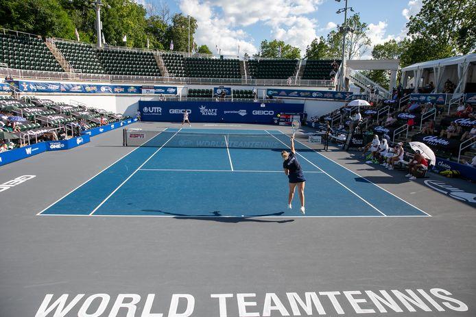 Kim Clijsters op het World Team Tennis-toernooi in de VS