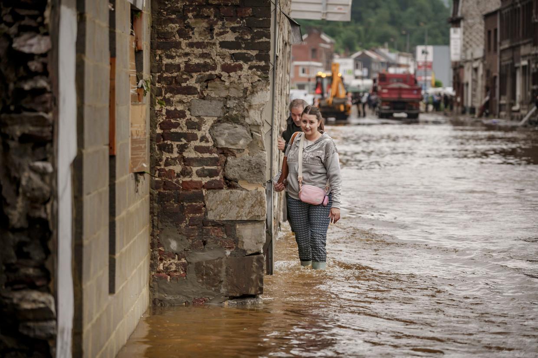 Pepinster de dag na de overstromingen. 'Niet uniek, maar wel heel uitzonderlijk.' Beeld Eric de Mildt