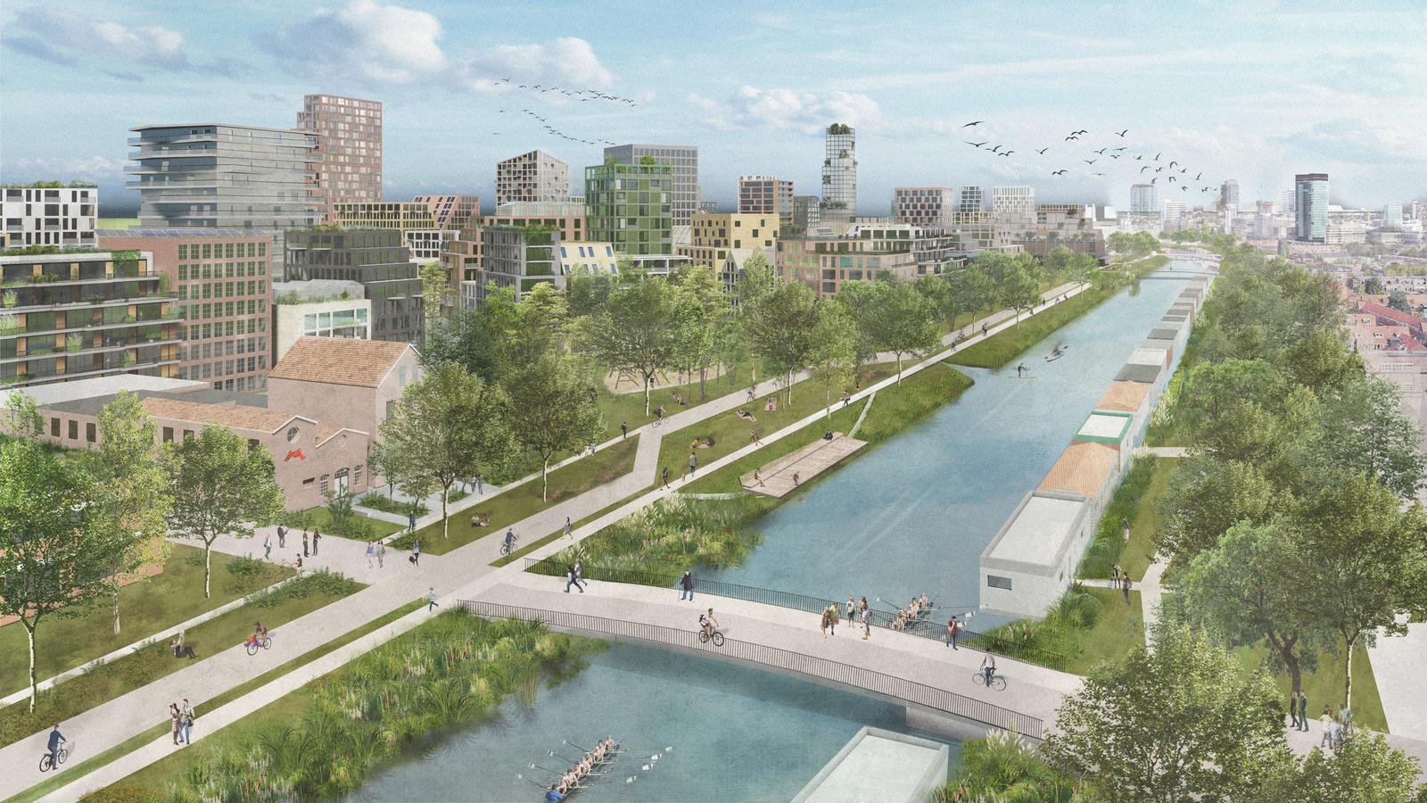 Stadswijk Merwede, met op de voorgrond een van de twee nieuwe wandel- en fietsbruggen over het kanaal.