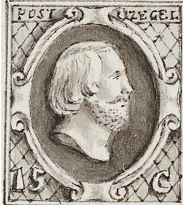 Op de eerste Nederlandse postzegel staat het portret van koning Willem III, getekend door muntmeester Agnites Vrolik in potlood en inkt. De zegels van 5, 10 en 15 cent golden vanaf 1852 en zijn gedrukt bij Rijks Munt. Beeld