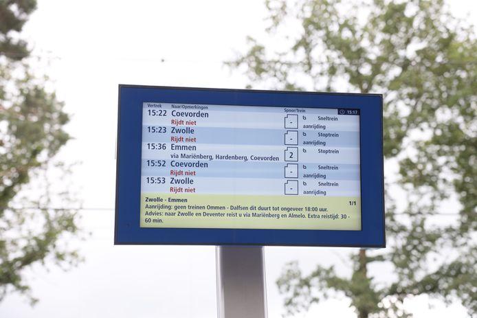 Door een aanrijding bij Vilsteren rijden er geen treinen tussen Zwolle en Emmen.
