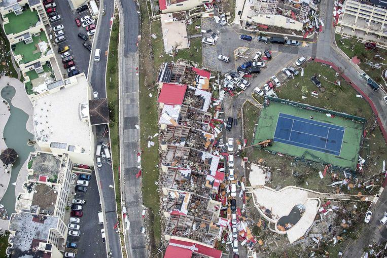 2017-09-06 22:00:48 PHILIPSBURG - Luchtfotografie van de schade op Sint-Maarten van orkaan Irma. De NH90 helikopter van Zr. Ms. Zeeland een eerste verkenningsvlucht gevlogen over de eilanden Saba, Sint Eustatius en Sint Maarten. ANP HANDOUTS MINISTERIE VAN DEFENSIE / GERBEN VAN ES **NO ARCHIVE, NO SALE, EDITORIAL USE ONLY** Beeld ANP Handouts