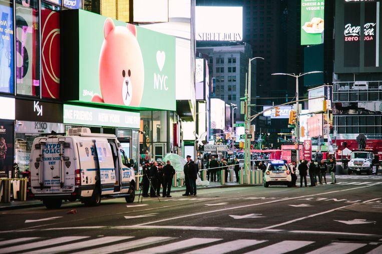 Op Times Square, in normale tijden een toeristische hotspot, vond gisteren een vuurgevecht plaats. Beeld EPA
