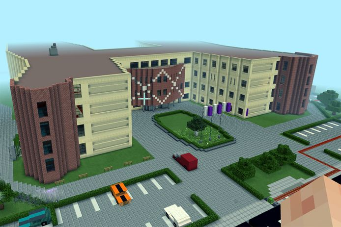 Het Vechtdal College bestaat nu ook in Minecraft. Leerlingen die thuiszitten vanwege het coronavirus bouwde de school na in het computerprogramma.