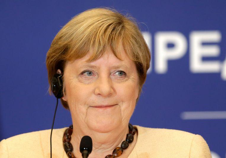 Angela Merkel tijdens een bezoek aan Servië in september 2021.  Beeld EPA
