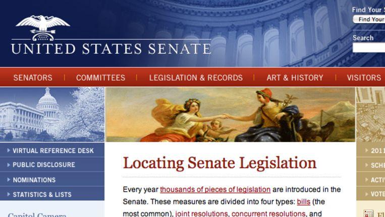 Fragment van de website van de Senaat. Beeld