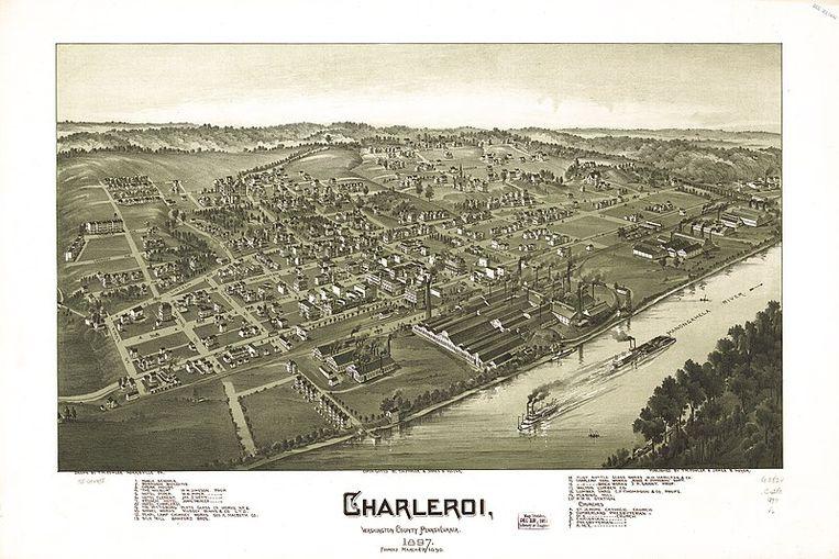 Aan de Monongahelarivier ontstond een nieuw Charleroi, genoemd naar de Waalse stad aan de Samber, toen vermaard als de mondiale hoofdstad van het glas.  Beeld Wilfried Magazine