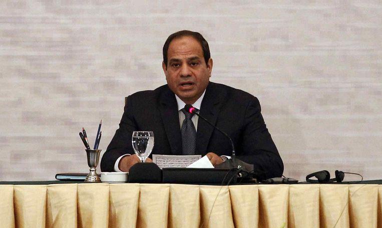 President van Egypte, Abdel Fattah al-Sisi, tijdens de Gaza reconstructie conferentie in Caïro, 12 oktober. Beeld reuters