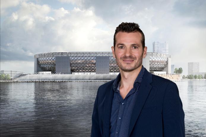 Op de achtergrond het jongste ontwerp van het nieuwe Feyenoordstadion