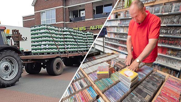 Vrienden hebben enorm veel kratten bier opgehaald (links) en een cd-saboteur teistert de Groesbeekse kringloopwinkel (rechts).
