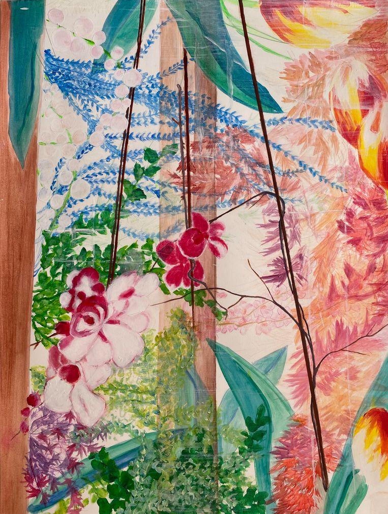 'Binnentuin', door Joke Devynck. 'Bij schilderen kun je niet nadenken. Ik hou er enorm van.' Beeld Joke Devynck