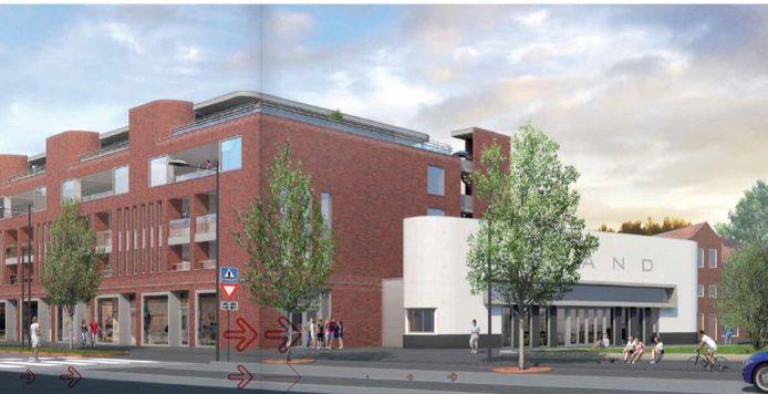 Het horecapand bij Breda Vooruit staat semi-vrijstaand tegen het woningcomplex aan, zo laat deze artist impression zien