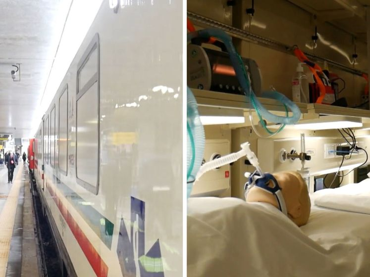 Un «train ambulancier» à la gare de Rome