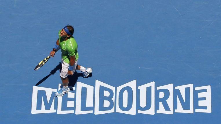 Rafael Nadal op het hardcourt tijdens zijn partij tegen zijn landgenoot Lopez. Beeld reuters