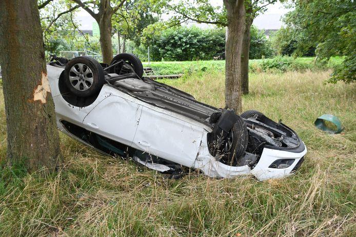 De auto schoot door een klein boompje heen en kwam vervolgens op zijn kop tot stilstand.