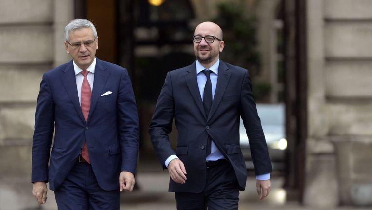 Coformateur Kris Peeters (CD&V) en toekomstig premier Charles Michel (Open Vld). Beeld PHOTO_NEWS