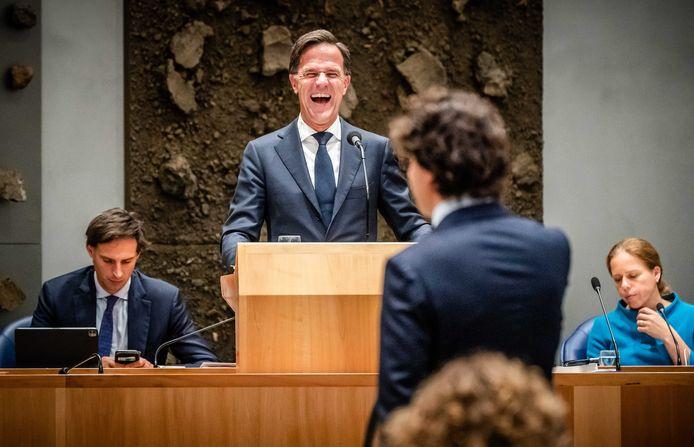 Demissionair premier Mark Rutte en Jesse Klaver (GroenLinks) tijdens het debat na de Troonrede op Prinsjesdag.