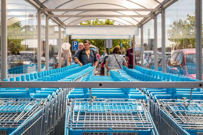 De blauwe winkelwagentjes van AH vervangen straks de gele exemplaren van vijf Jumbo-vestigingen in Midden-Limburg.