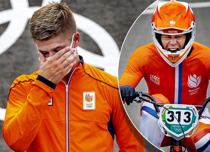 Niek Kimmann vecht op het podium tegen de tranen. Rechts: hij weet op de finish: dit is goud!