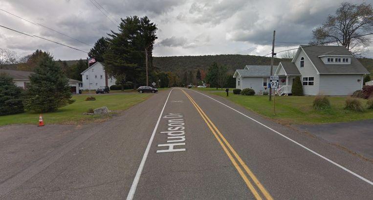 De weg in Pennsylvania waar het ongeval gebeurde.