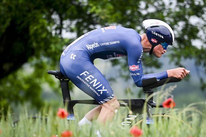 Van der Poel gisteren in de openingstijdrit van de Ronde van Zwitserland.