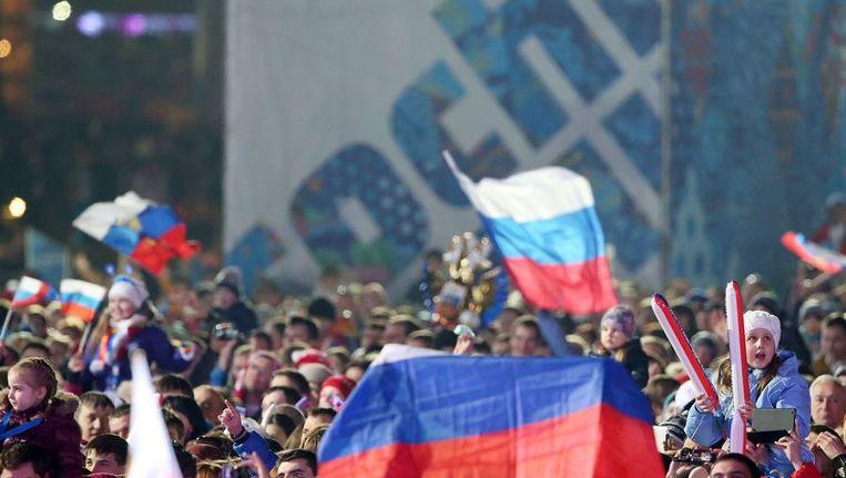 Russen op het Medals Plaza. Beeld afp