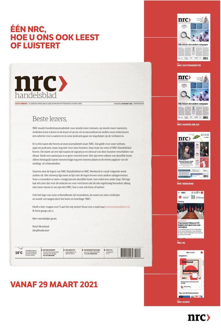 In een advertentie in de krant maakt NRC de aanpassing bekend. Beeld NRC