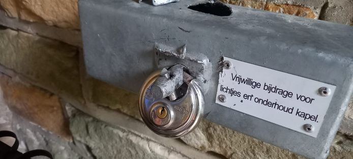 Het offerblok in de Mariakapel op de Tankenberg weerstond een poging van onbekende vandalen die er met de inhoud vandaar wilden gaan.