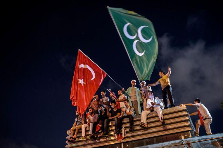Turken gingen massaal de straat op om te demonstreren. Beeld afp