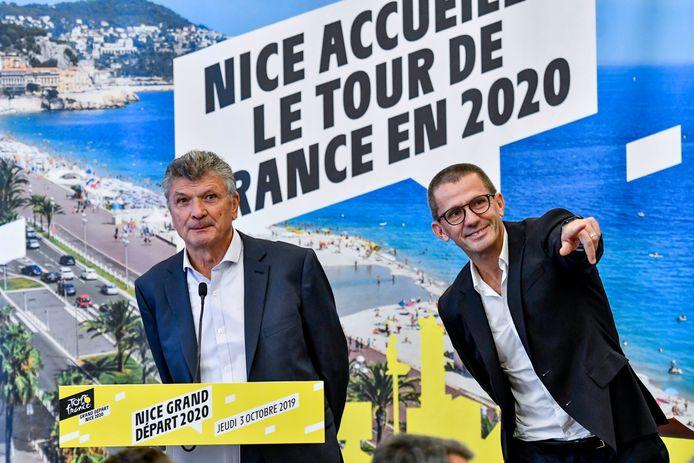 Oud-Tourwinnaar Bernard Thévenet (links) van het organisatiecomité van startplaats Nice en ASO-baas  Yann Le Moenner.