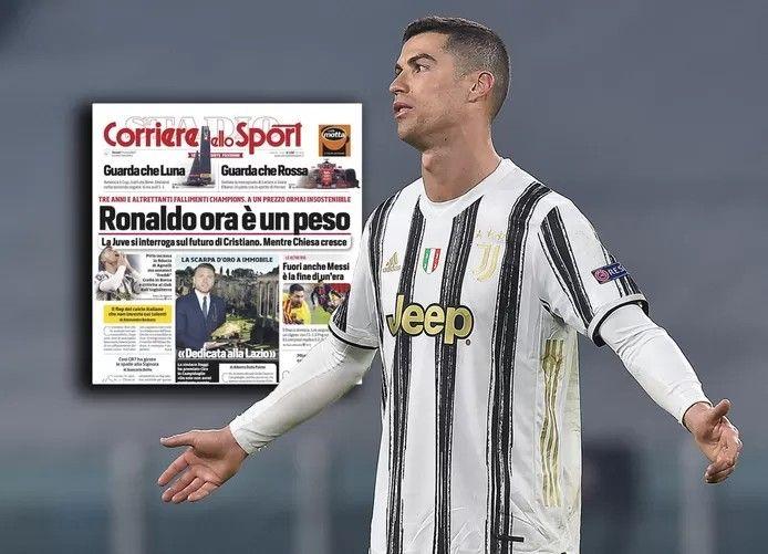 Cristiano Ronaldo. Inzet: de cover van Corriere dello Sport van vandaag. © EPA