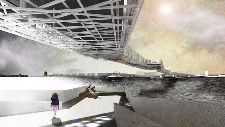 Er zijn de afgelopen jaren al vele ontwerpen gemaakt voor bruggen over het IJ. Dit is een artist impression van de brug die Jolijn Valk van Urban Echoes ontwierp Beeld Urban Echoes