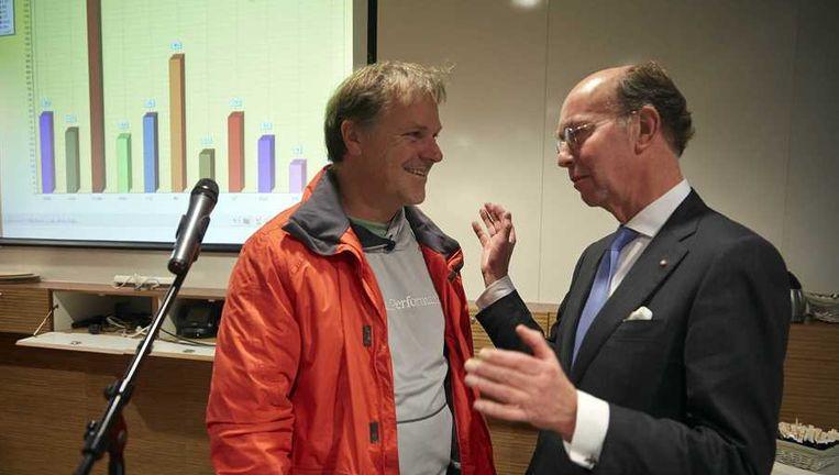 PvdA-voorzitter Hans Spekman (L) afgelopen woensdag met burgemeester Bas Eenhoorn van Alphen aan den Rijn. Beeld anp
