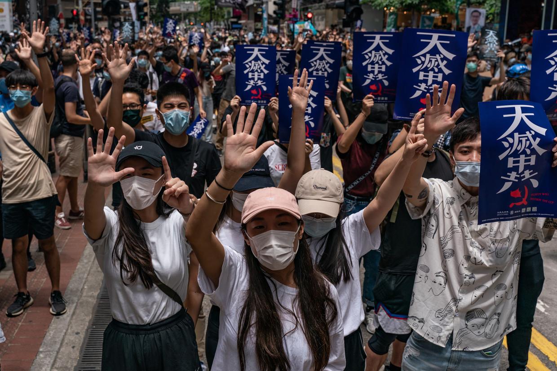 Protesten in Hongkong tegen de overheid. Jonathan Holslag: 'Grootmachtenconflict tussen VS en China niet langer uit te sluiten'  Beeld Getty Images
