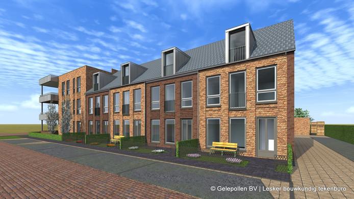 Artist impression van het bouwplan; links de appartementen, rechts de starterswoningen.