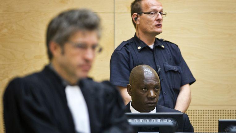 De Congolese krijgsheer Thomas Lubanga in de rechtszaal van het Internationaal Strafhof. Lubanga gaat in hoger beroep tegen zijn veroordeling tot 14 jaar celstraf wegens het gebruik van kindsoldaten in zijn rebellenleger. Beeld anp
