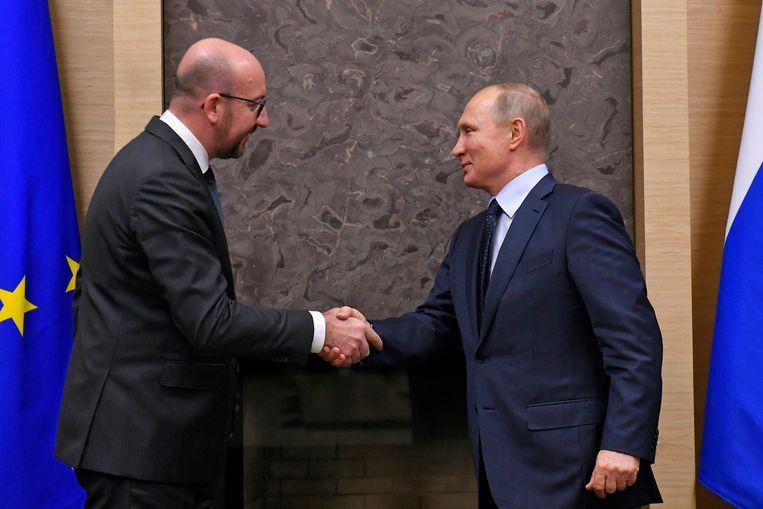 De ontmoeting van premier Charles Michel en Russisch president Vladimir Putin op  29 januari Beeld Photo News