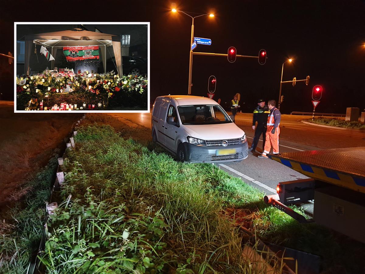 De witte bestelwagen van de verdachte van de dodelijke aanrijding in Wijchen werd later teruggevonden. Inzet: Rouw om Sebastiaan in Wijchen.