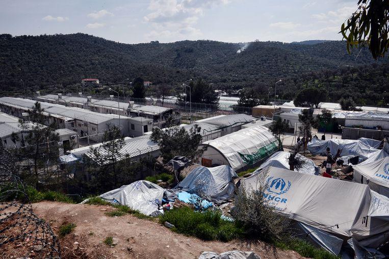 Vluchtelingenkamp Moria op het Griekse eiland Lesbos Beeld AFP