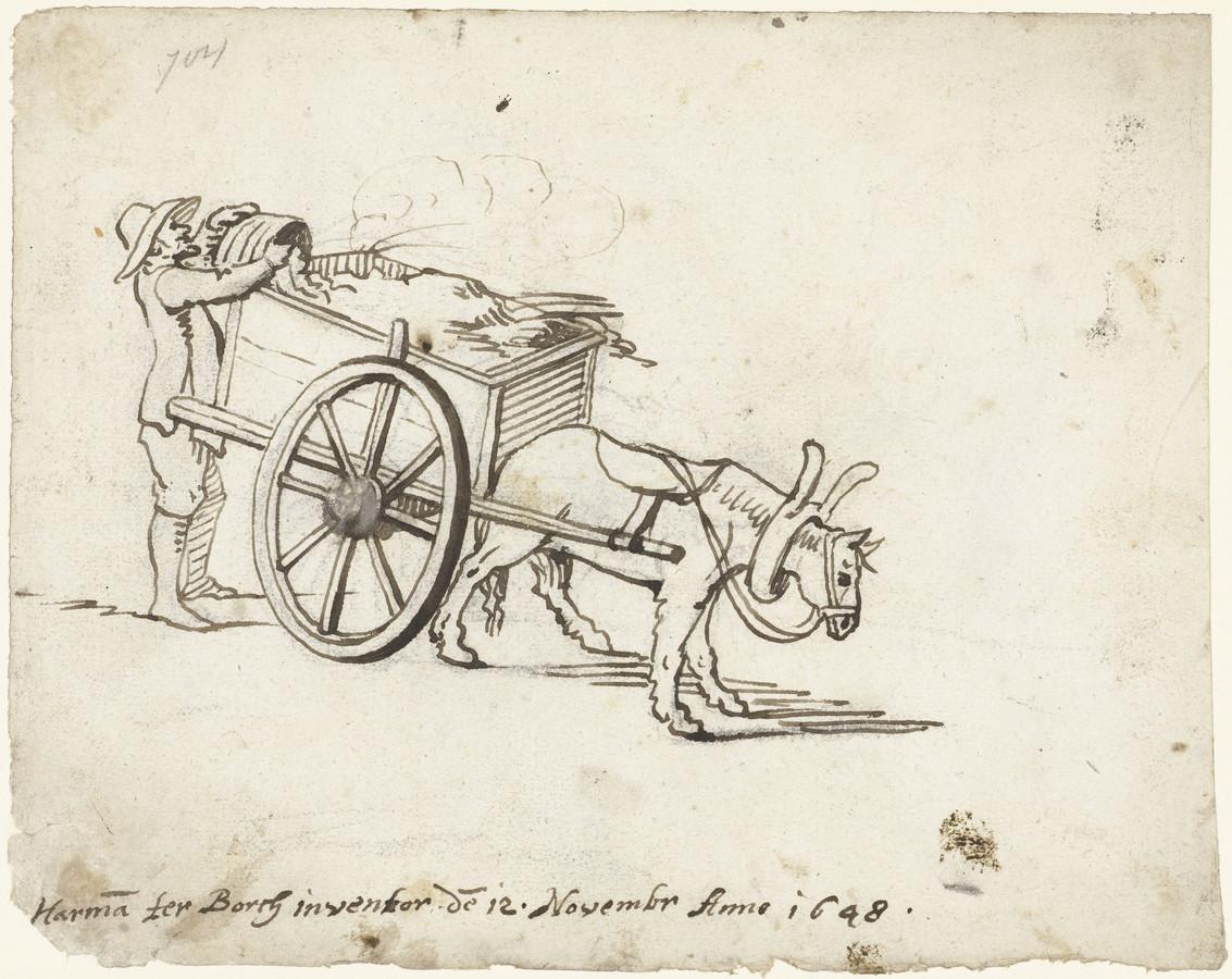 Stadsresoluties uit de zeventiende eeuw. Een man leegt een mestton in een kar.