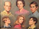 Een dienblad met de afbeelding van de Queen en prins Philip met hun vier kinderen.