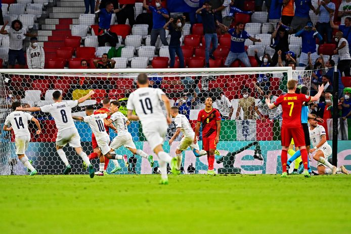 Ongoocheling bij België na de 0-1 van Barella.