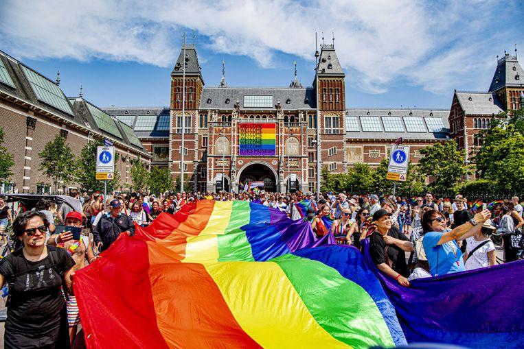 De Pride Walk bij het Rijksmuseum. Beeld ANP