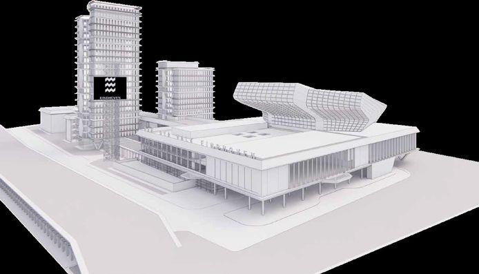 Ontwerpplan voor het nieuwe Eindhovense congrescentrum Elysion bij Van der Valk Hotel Eindhoven aan de Aalsterweg/A67.