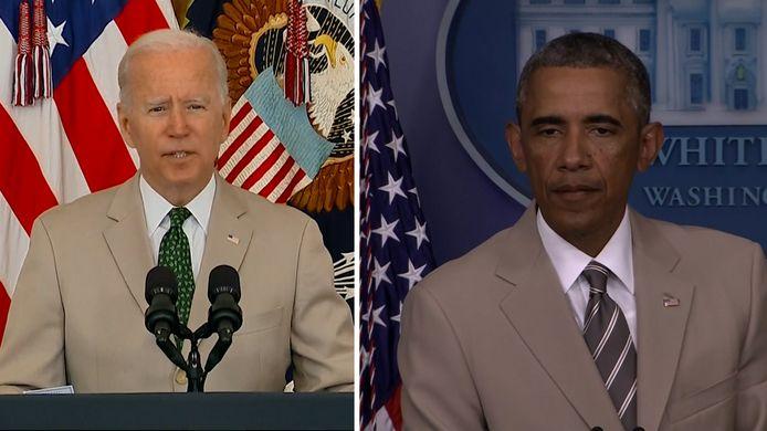 Biden draagt net zoals Obama in 2014 een beige kostuum.
