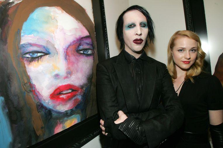 Marilyn Manson met Evan Rachel Wood, die beweert dat ze vaak vreesde voor haar leven in de nabijheid van de Amerikaanse zanger. Beeld WireImage