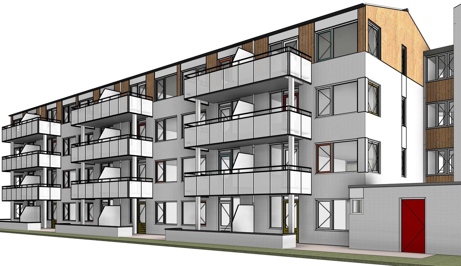 Indruk van het nieuwe uiterlijk van appartementengebouw De Waaij in Wijchen.