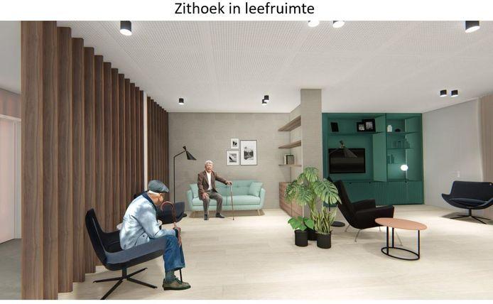 Een zithoek in de leefruimte